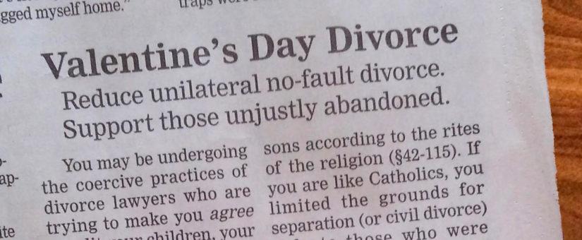 Valentine's Day Divorce – Ad. in Nebraska Paper